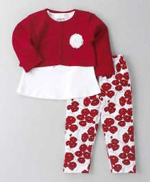 Wonderchild 3 Piece Floral Print Set - White & Red