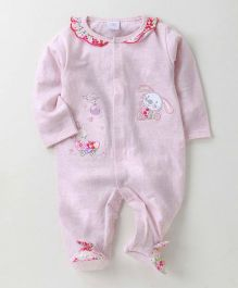 Wonderchild Bunny Applique Footie - Pink