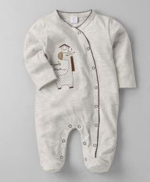 Wonderchild Giraffee Applique Footie - Off White