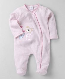 Wonderchild Teddy Applique Footie - Pink