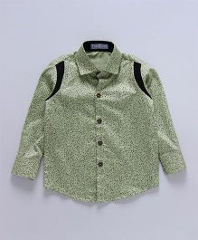 Knotty Kids Tiny Printed Shirt With Colour Blocked Shoulder - Green
