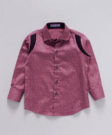Knotty Kids Tiny Printed Shirt With Colour Blocked Shoulder - Pink