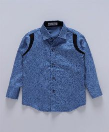 Knotty Kids Tiny Printed Shirt With Colour Blocked Shoulder - Blue