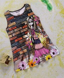 Cucumber Sleeveless Frock Girl & Floral Print - Multicolor