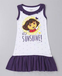 Red Rose Sleeveless Nighty Dora Print - Dark Purple White