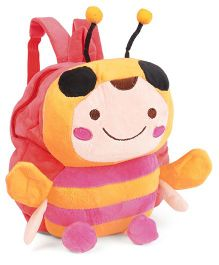 Soft Toy Bag Honey Bee Design Peach Pink  - 9.8 inches