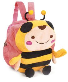 Soft Toy Bag Honey Bee Design Peach Black - 9.8 inches