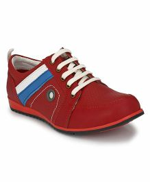 Tuskey Lace Up Sneakers Shoe - Red