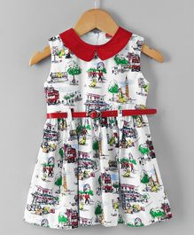 Babyhug Cotton Poplin Sleeveless Frock City Print - Red