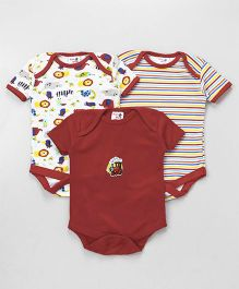 Kidi Wav Set Of 3 Animal Print Solid & Stripes Onesies - Red & White