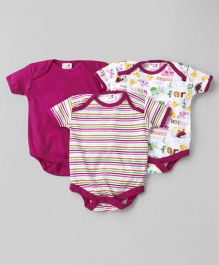 Kidi Wav Set Of 3 Farm Print Onesies - Pink