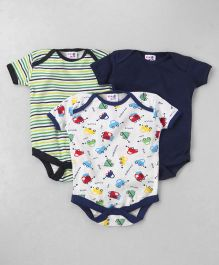 Kidi Wav Set Of 3 Car Print Onesie - Navy Blue