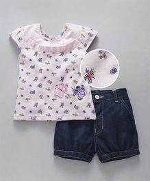 Babyhug Cap Sleeves Top And Denim Shorts Butterfly Patch - Pink Blue