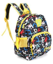 Alphabet Print School Bag Black - Height 12.5 inches