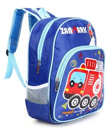 School Bag Fire Engine Print Royal Blue - 12.9 inches