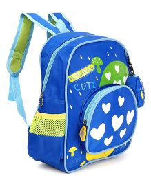 Heart Print School Bag Royal Blue - Height 12.5 inches