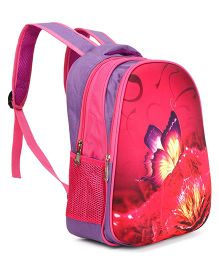 Butterfly Print School Bag Purple Fuchsia - Height 14.17 inches