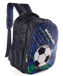 School Bag Foot Ball Print Black Navy Blue - 13.7 Inches