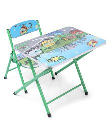 Study Table With Chair Vehicle Print - Green