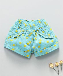 Olio Kids Shorts Floral Print - Sky Blue