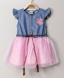 Babyhug Cap Sleeves Woven Frock Floral Applique - Blue Pink