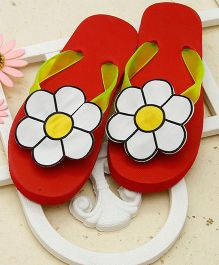 D'chica Flower Fashion Flip Flops - Red