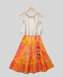 Silverthread Printed Lehenga With Flare Top - Multicolor