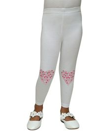 D'chica Heart Knee Patch Leggings - White