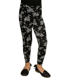 D'chica All Over Floral Print Leggings - Black