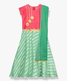 BownBee Applique Work & Striped Combination Lehenga Choli With Dupatta - Green & Pink