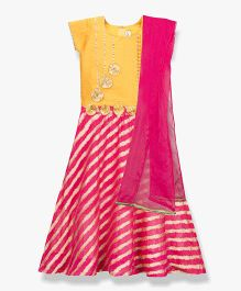 BownBee Applique Work & Striped Combination Lehenga Choli With Dupatta - Pink & Yellow