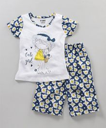 Fido Half Sleeves Top And Pajama Girl Print - White Teal Blue