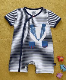 Mini Taurus Half Sleeves Romper Stripes Print  - Royal Blue