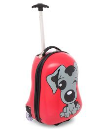 Baby Luggage Trolley Bag Puppy Print Red - 18.5 inches