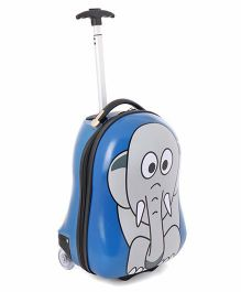 Elephant Print Baby Luggage Trolley Bag Blue - Height