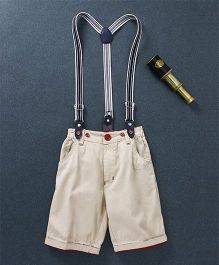 Olio Kids Turn Up Hem Shorts With Suspenders - Cream