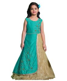 Betty By Tiny Kingdom Long Dress With Pearl Work - Blue