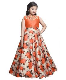 Betty By Tiny Kingdom Long Dress With Floral Flare & Neck Work - Orange