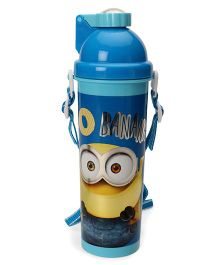 Minion Go Banana Sleek Water Bottle With Pop Up Straw Blue - 750 ml