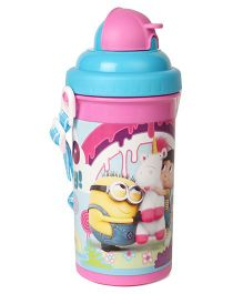Minions Unicorn & Agnes Water Bottle With Pop Up Straw Pink Blue - 500 ml