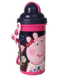 Peppa Pig Water Bottle With Pop Up Straw Navy Blue - 500 ml