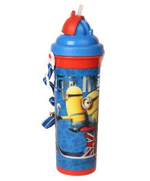 Minions Mania Water Bottle With Pop Up Straw Blue - 750 ml