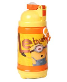 Minions Le Buddies Water Bottle With Pop Up Straw Yellow - 480 ml