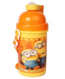 Minions We're Here Water Bottle With Pop Up Straw Orange - 500 ml