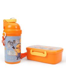 Minion Combo Pack of Lunch Box & Water Bottle - Orange & Blue