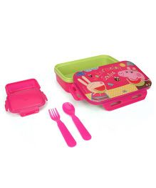 Peppa Pig Lunch Box With Spoon Fork & Small Box - Pink