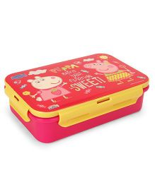 Peppa Pig Being Best Friend Lunch Box With Fork And Spoon - Pink Yellow