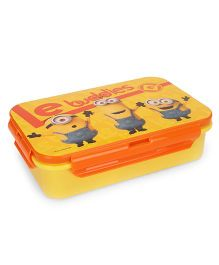 Minion Le Buddies Lunch Box With Fork And Spoon - Orange Yellow
