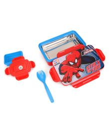 Marvel Spiderman Insulated Steel Lunch Box With Fork Spoon - Red Blue