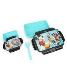 Disney Mickey & Friends Slim Lunch Box With Fork Spoon - Blue Black